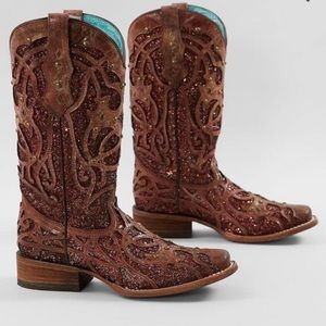 Rare Corral Studded Glitter Inlay Square Toe Boots